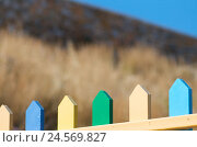 Купить «Colourful pickets, peaks, close-up, detail, island Sifnos, the Cyclades, Greece,», фото № 24569827, снято 17 июня 2019 г. (c) mauritius images / Фотобанк Лори