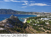 Купить «Greece, Island Kos, Karmari bay, overview,», фото № 24569843, снято 8 августа 2018 г. (c) mauritius images / Фотобанк Лори