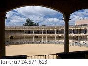 Купить «Spain, province Malaga, Andalusia, Ronda, bullfight arena, inside,», фото № 24571623, снято 15 сентября 2009 г. (c) mauritius images / Фотобанк Лори