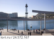 Купить «Spain, Barcelona, Rambla del Mar, harbour, benches, pedestrians, piece of art, water,», фото № 24572167, снято 15 августа 2018 г. (c) mauritius images / Фотобанк Лори