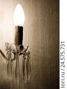 Купить «Wall lamp, candlestick, detail,», фото № 24575731, снято 15 сентября 2019 г. (c) mauritius images / Фотобанк Лори