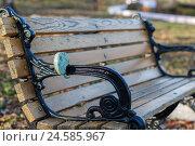 Свадебный замок на перилах скамейки. Стоковое фото, фотограф Владимир Иванов / Фотобанк Лори
