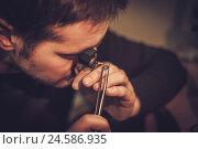 Купить «Jeweler during the evaluation of jewels», фото № 24586935, снято 2 декабря 2016 г. (c) Andrejs Pidjass / Фотобанк Лори