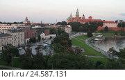 Купить «Skyline of the old european city with landmarks», видеоролик № 24587131, снято 9 декабря 2016 г. (c) Швец Анастасия / Фотобанк Лори