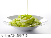Купить «Oil pour out about plate with salad,», фото № 24596715, снято 15 августа 2018 г. (c) mauritius images / Фотобанк Лори