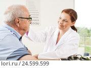 Купить «Senior man will consult from his ophthalmologist,», фото № 24599599, снято 19 июня 2019 г. (c) mauritius images / Фотобанк Лори