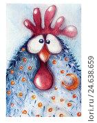 Купить «Петух, акварельный рисунок», иллюстрация № 24638659 (c) Duzhnikova Iuliia / Фотобанк Лори