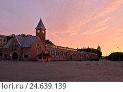 Здание центрального крытого рынка с часовой башенкой в Выборге (2016 год). Стоковое фото, фотограф Горбачев Матвей Владимирович / Фотобанк Лори