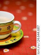 Купить «Coffee cup, Blümchentischdecke, Stilllife, close up», фото № 24644687, снято 27 ноября 2007 г. (c) mauritius images / Фотобанк Лори