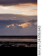 Купить «Schleswig - Holstein, North Sea coast, sundown,», фото № 24656643, снято 22 августа 2018 г. (c) mauritius images / Фотобанк Лори