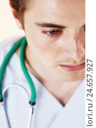 Купить «Portrait of a young doctor,», фото № 24657927, снято 19 марта 2019 г. (c) mauritius images / Фотобанк Лори
