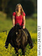 Купить «Rider, horse, rape field, standing, front view, looking at camera,», фото № 24659727, снято 24 февраля 2018 г. (c) mauritius images / Фотобанк Лори