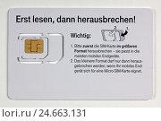 Купить «Card support, SIM card, micro-SIM card,», фото № 24663131, снято 15 мая 2011 г. (c) mauritius images / Фотобанк Лори