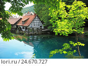 Купить «Germany, Baden-Wurttemberg, swabian alp, Blaubeuren, Blautopf (museum), water mill, howler fabric,», фото № 24670727, снято 20 августа 2018 г. (c) mauritius images / Фотобанк Лори
