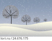 Купить «Illustration, winter landscape, trees, snow,», фото № 24676175, снято 21 мая 2018 г. (c) mauritius images / Фотобанк Лори