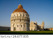 Купить «Italy, Tuscany, Pisa, Piazza dei Miracoli, cathedral, baptistry, Campanile, 'oblique tower'», фото № 24677835, снято 16 января 2008 г. (c) mauritius images / Фотобанк Лори