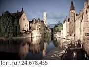 Купить «Rozenhoedkaai, bell tower in the background, Brugge, Belgium, Europe,», фото № 24678455, снято 21 августа 2018 г. (c) mauritius images / Фотобанк Лори
