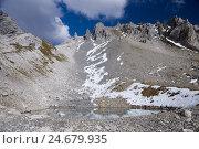 Купить «Austria, Tyrol, Lechtal Alps, mountain Arl, St. Anton, Valluga trajectory, Valfagehrkar, mountain lake,», фото № 24679935, снято 21 января 2008 г. (c) mauritius images / Фотобанк Лори