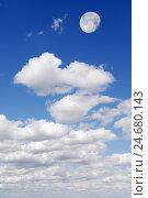 Купить «Cloudy sky, cumulus clouds, moon,», фото № 24680143, снято 17 августа 2018 г. (c) mauritius images / Фотобанк Лори