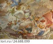 Купить «Germany, Bavaria, romantic street, Steingaden, minster, ceiling fresco,», фото № 24688099, снято 15 августа 2012 г. (c) mauritius images / Фотобанк Лори