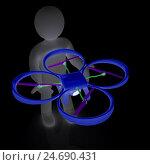 Купить «Дрон с фотокамерой в руках человечка. 3D визуализация», иллюстрация № 24690431 (c) Guru3d / Фотобанк Лори