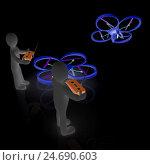 Купить «3d-люди управляют дронами с фотокамерами на темном фоне», иллюстрация № 24690603 (c) Guru3d / Фотобанк Лори