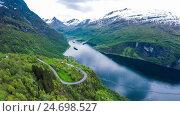 Купить «Geiranger fjord, Norway», видеоролик № 24698527, снято 7 апреля 2016 г. (c) Андрей Армягов / Фотобанк Лори