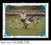 Матч Италия — Западная Германия 1982 год в Испании. Почтовая марка КНДР 1985 года. Стоковое фото, фотограф Александр Щепин / Фотобанк Лори