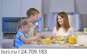 Купить «Smiling family at home», видеоролик № 24709183, снято 19 сентября 2019 г. (c) Raev Denis / Фотобанк Лори