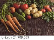 Купить «freshly grown raw vegetables», фото № 24709559, снято 17 июля 2016 г. (c) Jan Jack Russo Media / Фотобанк Лори