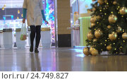 Concept Christmas Shopping in the Mall and Festive Mood and Emotions in Blur. Стоковое видео, видеограф Vladimir Botkin / Фотобанк Лори