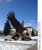 Купить «Скульптура орла. Привокзальная площадь, город Орёл», фото № 24771171, снято 19 марта 2013 г. (c) Ирина Климкович / Фотобанк Лори