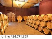 Купить «Бочки с вином на винодельне Вью Манент (Viu Manent)», фото № 24771859, снято 26 ноября 2014 г. (c) Free Wind / Фотобанк Лори