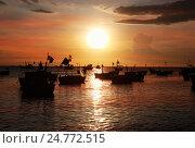 Купить «Силуэты вьетнамских рыболовных лодок», фото № 24772515, снято 28 ноября 2016 г. (c) Алексей Кузнецов / Фотобанк Лори