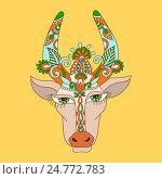 Декоративный стилизованный рисунок индийской коровы. Стоковая иллюстрация, иллюстратор Олеся Каракоця / Фотобанк Лори