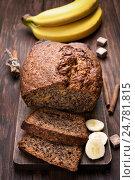 Купить «Банановый хлеб на столе», фото № 24781815, снято 18 марта 2016 г. (c) Татьяна Волгутова / Фотобанк Лори