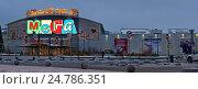 Купить «Главный вход торгового центра «Мега»  в теплом стане украшенный к  новогоднему празднику», фото № 24786351, снято 25 декабря 2016 г. (c) Дрогавцева Оксана / Фотобанк Лори