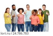 Купить «international group of people showing thumbs up», фото № 24786783, снято 29 октября 2016 г. (c) Syda Productions / Фотобанк Лори