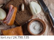 Черный хлеб с копченым мясом. Стоковое фото, фотограф Igor Sirbu / Фотобанк Лори