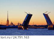 Купить «Белые ночи в Санкт-Петербурге. Разводные мосты», фото № 24791163, снято 28 июня 2015 г. (c) Юлия Васюнцова / Фотобанк Лори
