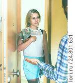 Купить «Young couple separating after quarrel», фото № 24801631, снято 27 марта 2019 г. (c) Яков Филимонов / Фотобанк Лори