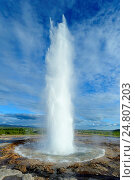 Купить «The geysir Strokkur is erupting regularly every 8-10 minutes generally. Water bubbles break and eruption begins. Head of water column: max. 25-35 m. Haukadalur, Iceland», фото № 24807203, снято 11 июня 2014 г. (c) age Fotostock / Фотобанк Лори