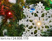 Купить «Вязаная снежинка на новогодней ёлке», эксклюзивное фото № 24808119, снято 3 января 2017 г. (c) Dmitry29 / Фотобанк Лори