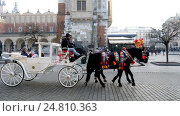 Купить «Tourists ride on a carriage around Christmas market at main square in old city», видеоролик № 24810363, снято 21 декабря 2016 г. (c) Антон Гвоздиков / Фотобанк Лори
