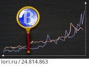 Купить «The concept of e-commerce growth rate. Cryptocurrency Bitcoin.», фото № 24814863, снято 1 января 2017 г. (c) Александр Якимов / Фотобанк Лори