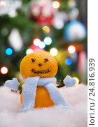 Купить «Снеговик из мандаринов на фоне новогодней ёлки», эксклюзивное фото № 24816939, снято 5 января 2017 г. (c) Dmitry29 / Фотобанк Лори