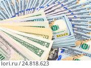 Купить «Heap of american dollar bills close up», фото № 24818623, снято 22 февраля 2019 г. (c) FotograFF / Фотобанк Лори