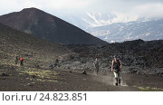 Купить «Туристы спускаются с вулкана по тропе после восхождения», видеоролик № 24823851, снято 24 июня 2016 г. (c) А. А. Пирагис / Фотобанк Лори