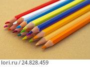 Купить «Цветные карандаши на листе для эскизов», фото № 24828459, снято 17 апреля 2016 г. (c) Елена Коромыслова / Фотобанк Лори