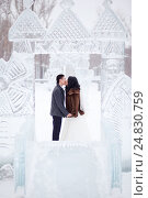 Купить «Winter wedding couple kissing in the middle of the ice figures in a snowy town, the bride in fur coat and white dress with veil, the groom wearing topcoat», фото № 24830759, снято 20 февраля 2016 г. (c) Евгений Майнагашев / Фотобанк Лори